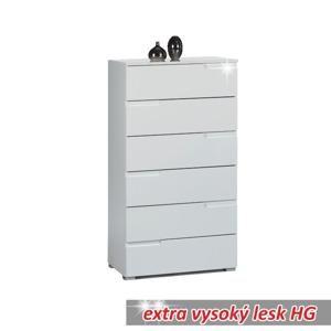 TEMPO KONDELA 6 zásuvková komoda, biela extra vysoký lesk HG, SPICE 6