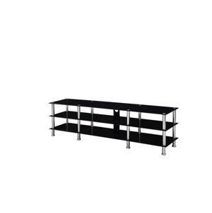 TEMPO KONDELA TV stolík, sklo/oceľ, čierna+oceľ, ARLO