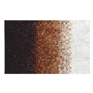 TEMPO KONDELA Luxusný kožený koberec, biela/hnedá/čierna, patchwork, 70x140, KOŽA TYP 7