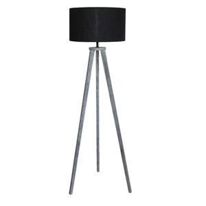 TEMPO KONDELA Stojacia lampa, čierna/sivá, JADE Typ 10 6034-41B
