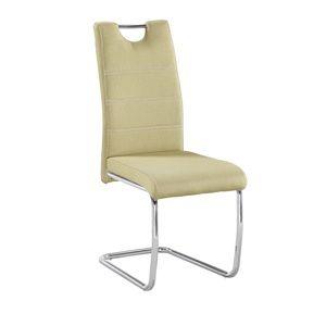 TEMPO KONDELA Jedálenská stolička, zelená/svetlé šitie, ABIRA NEW