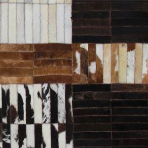 TEMPO KONDELA Luxusný kožený koberec, čierna/hnedá/biela, patchwork, 120x180, KOŽA typ 4