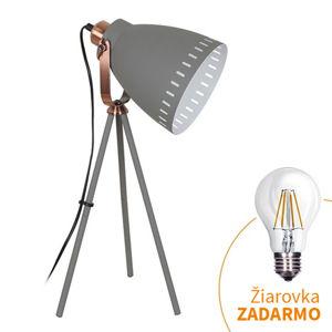 TEMPO KONDELA Stolná lampa, sivá, TORINO WA002-G