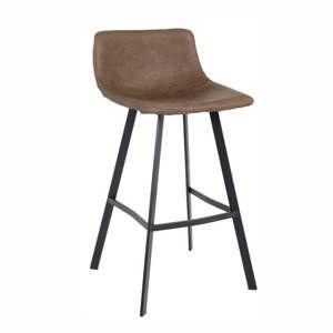 TEMPO KONDELA Barová stolička, tmavohnedá/čierny kov, FALUN