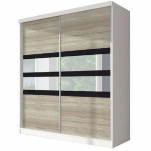 TEMPO KONDELA Skriňa s posuvnými dverami, dub sonoma/biela/čierne sklo, 233x218, MULTI 10