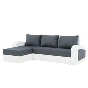 TEMPO KONDELA Rozkladacia sedacia súprava, sivá látka/biela ekokoža, SEVILA