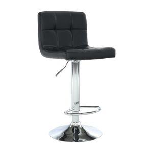 Barová stolička, ekokoža čierna/chróm, KANDY, rozbalený tovar