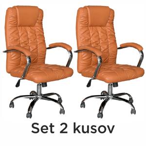 2 kusy, kancelárske kreslo, hnedá ekokoža/chróm, SORIA