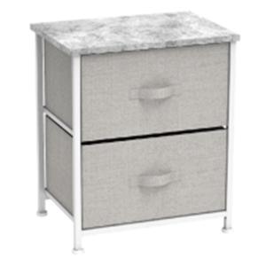 Komoda/nočný stolík s látkovými šuplíkmi, sivá/biela/svetlosivá, ROSITA TYP 1