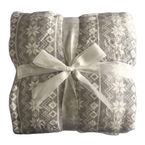 Obojstranná baránková deka, sivá/biela/vzor, 150x200, MARITA