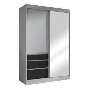 Skriňa s posúvacími dverami, sivá/čierna, 140, ROMUALDA