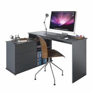 Univerzálny rohový PC stôl, grafit, TERINO