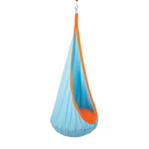 Závesné hojdacie kreslo, modrá/oranžová, SIESTA TYP 1